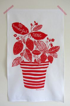 Linen tea towel You wonderful thing Stripes by stephaniecoleDESIGN