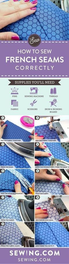 How To Sew French Seams Correctly I Sewing Tips For Beginners Starting a sewing project is always fun, but finishing it is challenging. One of our favorite ways to finish a sewing project is by finishing it with french seams! Learn how to sew french seams Sewing Lessons, Sewing Class, Love Sewing, Sewing Basics, Sewing Hacks, Sewing Tutorials, Sewing Tips, Sewing Ideas, Basic Sewing