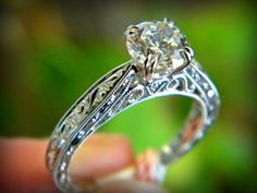 Kirk Kara antique styled engagement ring in white gold. You can find this at Diana Jewelers in Liverpool, NY. Right outside of Syracuse!