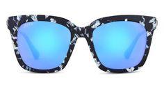 eb3987e21149b DIFF Eyewear ~ Bella Black White Frame Blue Mirror Lens