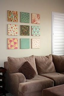 Mod Podge canvas - would be so easy and inexpensive