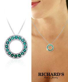 Emerald and Diamond Circle Pendant in 18K White Gold