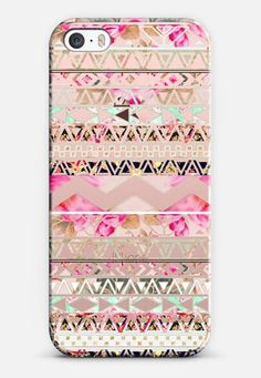 Pink floral aztec pattern transparent by Girly Trend iPhone SE case by Girly Trend | Casetify