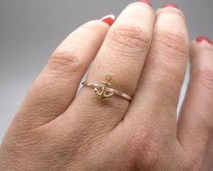 Tiny gold anchor ring, stacking ring, knuckle ring, midi ring in sterling silver and brass by AnnieLesperance, $15.00