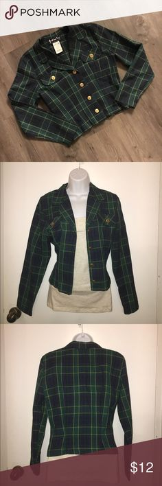 """90s Plaid Jacket Adorable jacket stops at the waist. Would be perfect for a Halloween costume, school girl or the leading role in Clueless. Brand is """"All That Jazz,"""" A Chorus Line Company. Can fit xsmall to small. Jackets & Coats Blazers"""