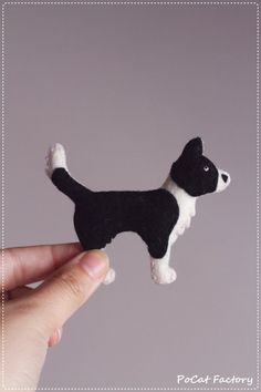 Border Collie felt dog brooch by PoCatFactory on Etsy