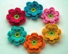 Crochet Flowers  Cream Embellished Crochet Flowers by AnnieDesign