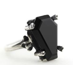 Easeful Death. Mini Onyx Coffin Ring. – Blood Milk Jewels - Size 5.5