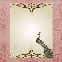 Blank Wedding Invitations Peacock Template