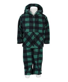Green Buffalo Plaid Hoodie & Pants - Infant, Toddler & Boys #zulily #zulilyfinds