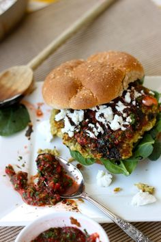 Brussel sprout burgers with strawberry jalapeno salsa balsamic reduction (and goat cheese)