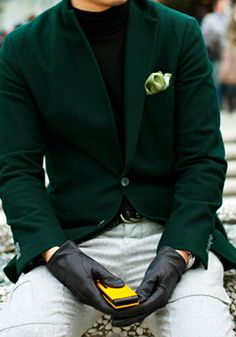 I'm loving that men are breaking away from the black and grey sports coats, I love the hunter green!
