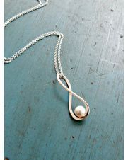 Silver Infinity Pearl Necklace,