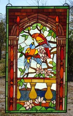 Kissing Parrots Stained Glass Window