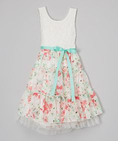 560510f5d2 Another great find on  zulily! Ivory Floral Dress - Girls  zulilyfinds  Little Girl