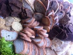 A variety of Gluten free home made bread & crackers to accompany an antipasto platter