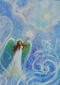 Original Acrylic Painting Healing Energy Angel and by BrydenArt