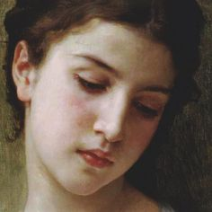 Head Study of a Young Girl (detail)  by William Adolphe Bouguereau
