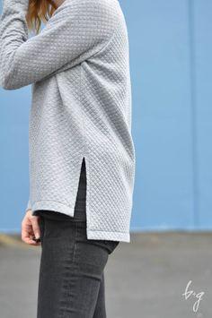 Quilted Side-Vent Linden Sweatshirt - Sewing Pattern by Grainline Studio