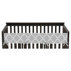 Sweet Jojo Designs Gray & White Trellis Long Crib Rail Guard Cover - Gray
