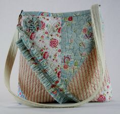 Quilted Flowered Handbag, Handmade, Quilted, Shoulder bag, Purse, Unique, Shabby Chic, Cottage Chic, One of a kind, Cross body bag, Hipster by TotellyUnique on Etsy
