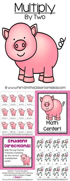 Quick and Easy to Make Multiplication Doubles Center Game Multiply By Two Concept with a cute piggy theme! #TPT $Paid