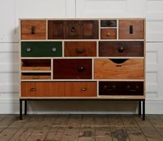 Cabinet with mismatched drawer fronts by Rupert Blanchard, Salvager & Maker #cabinet