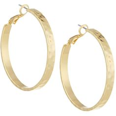 Panacea Hammered Golden Hoop Earrings ($18) ❤ liked on Polyvore featuring jewelry, earrings, gold, gold earrings, panacea jewelry, hammered jewelry, hammered gold jewelry and golden earring
