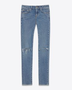 645df9feb14b SAINT LAURENT 5 Pocket Skinny Jeans ORIGINAL LOW WAISTED RIPPED SKINNY JEAN  IN DIRTY LIGHT BLUE