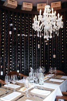 Wine storage at the restaurant in the Charlee Lifestyle Hotel in Medellin, Columbia