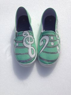 Music Note Heart Custom Painted Canvas Shoes by Simplytaja on Etsy, $40.00