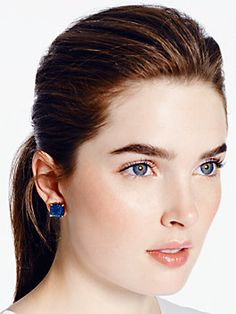 kate spade earrings small square studs, navy glitter