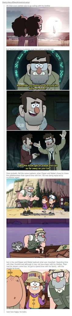 Stanley Pines- Gravity Falls omg! I always knew Stan was sad because the twins didn't want to go boating with him like his brother