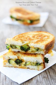 Roasted Broccoli Grilled Cheese Sandwich Recipe on twopeasandtheirpod.com