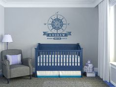 "Nursery 26"" wide Wall Decal Rose Compass Sailing Personalized Birth Date and Name Vinyl Nautical Theme Removable Wall Art Vinyl"
