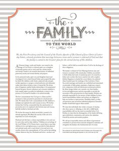 The Family A Proclamation to the World   This is what I believe.