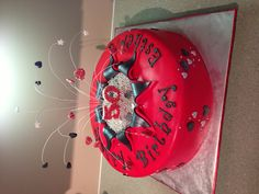 """50th Bday to match the colour of this birthday girls' Harley!!  14x4"""" marbled cake"""