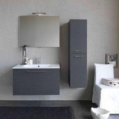 rivestimento grigio con decori. #therapy4home #bagno #grey #design ... - Mobile Bagno Moderno Piccolo
