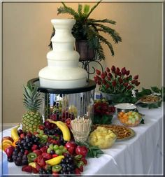 White Chocolate fountain and fruit