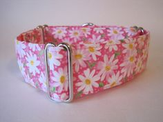 White Daisies on Pink Martingale Collar  $19.99  Available in 1.5 inch and 2 inch wide martingale collar  Also available matching leash