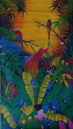 "Original Haiti Art Painting Acrylic Canvas Daniel Louis 68""X40"" Birds Forest #OutsiderArt"