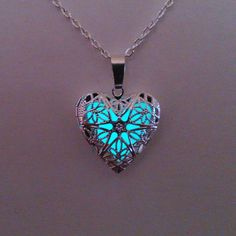 Aqua Glowing Locket Necklace // Glow in the Dark // Glowing Jewelry // Heart Pendant // Filigree Glow Necklace // Gifts for Her // Xmas