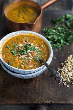 Wild Greens and Sardines : Red Lentil (Vadouvan) Curry Coconut Stew
