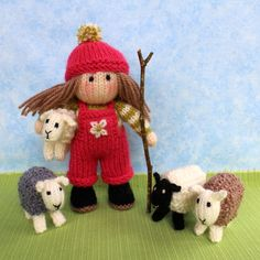 Bo Peep and her sheep. Knitted doll and sheep knitting