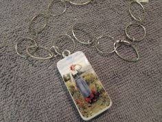 Country Girl Searching by the Water Domino Necklace Jewelry On A Silver Chain #Handmade #Chain