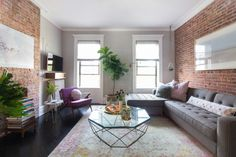 Brooklyn living room with exposed brick walls