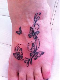 butterfly tattoos on foot | Butterflies on Foot tattoo
