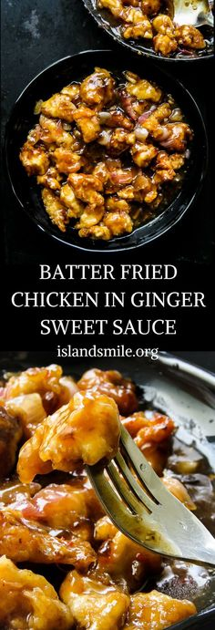 batter fried chicken in ginger sweet sauce. juicy chicken soaked sweet ginger sauce, a take-out style chicken dish you can make at home. #recipe #cooking #blog #food #chicken #sweet #spicy #meals