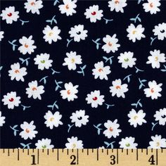 Riley Blake Vintage Happy Petals Navy from @fabricdotcom  Designed by Lori Holt of Bee In My Bonnet for Riley Blake, this cotton print is perfect for quilting, apparel and home decor accents.  Colors include navy, aqua, white, red, orange and yellow.