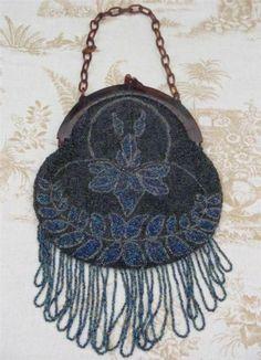 Antique Art Nouveau Glass Beads & Celluloid Frame Evening Bag